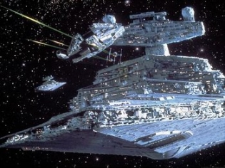 The Falcon eluding Star Destroyers